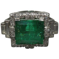 Art Deco Defined 12.75 Carat GIA Colombian Emerald Platinum Ring