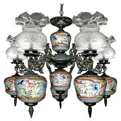 Art Deco Delft Porcelain in Polychrome Colors & Etched Glass Oil Lamp Chandelier