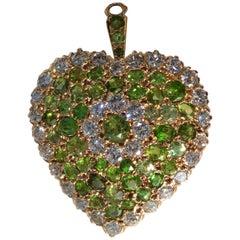 Art Deco Demantoid Diamond Gold Heart Brooch Pendant