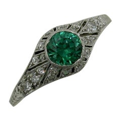 Art Deco Demantoid Green Garnet Diamond Platinum Wedding Engagement Ring