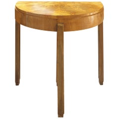 ART DECO Demi-lune Card and Side Table in pale Walnut
