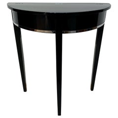 Art Deco Demi-Lune Console Table, Black Piano Lacquer on Oak, France circa 1930