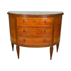 Art Deco Demilune Mahogany & Marble-Top Commode / Chest of Drawers, circa 1925
