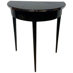 Art Deco Demilune Side Table, Black Lacquer and Metal, France, circa 1930