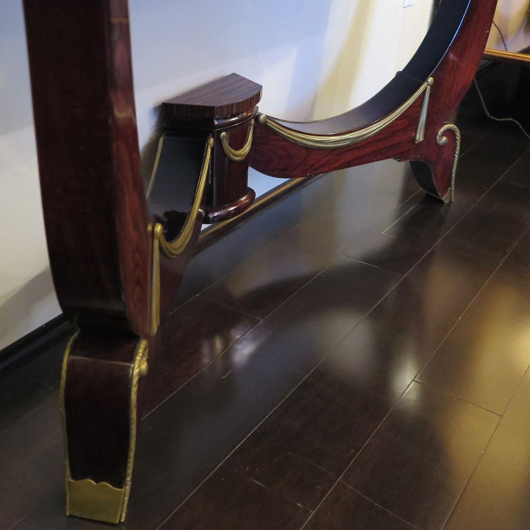 Art Deco Demilune Console in Macassar and Mahogany with Brass Fittings In Good Condition For Sale In Los Angeles, CA