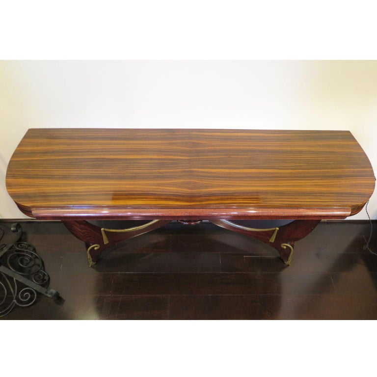 20th Century Art Deco Demilune Console in Macassar and Mahogany with Brass Fittings For Sale
