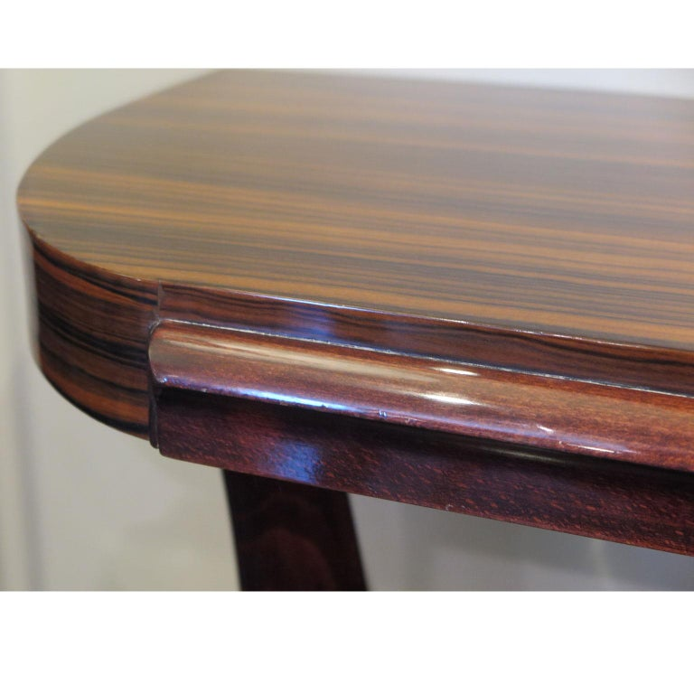 Art Deco Demilune Console in Macassar and Mahogany with Brass Fittings For Sale 1
