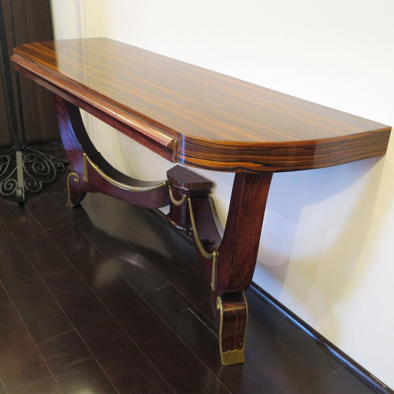 Art Deco Demilune Console in Macassar and Mahogany with Brass Fittings For Sale 2