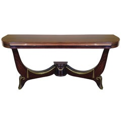 Art Deco Demilune Console in Macassar and Mahogany with Brass Fittings