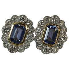 Art Deco Design 18 Carat Gold Sapphire and Diamond Cluster Earrings