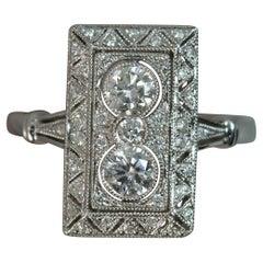 Art Deco Design 18 Carat White Gold Diamond Panel Cluster Ring