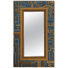 Art Deco Design Artisan Needlepoint Framed Large Mirror