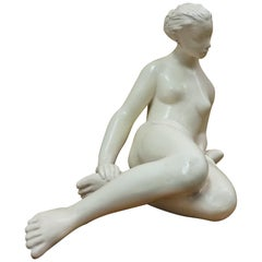 Art Deco Design Ceramic Sculpture Nude Sitting Woman, 1940s