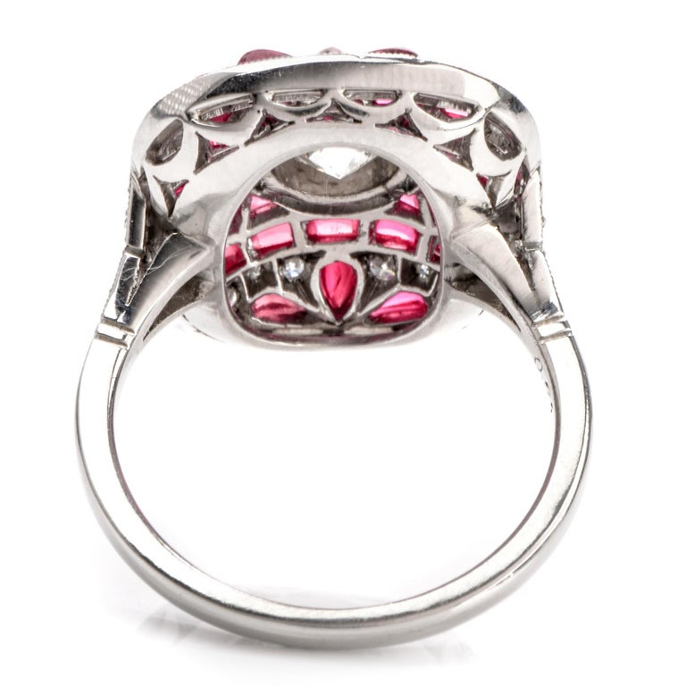 Art Deco Design Diamond Ruby Platinum Cocktail Engagement Ring In Excellent Condition For Sale In Miami, FL