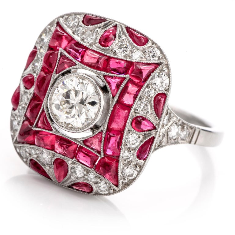 Women's or Men's Art Deco Design Diamond Ruby Platinum Cocktail Engagement Ring For Sale