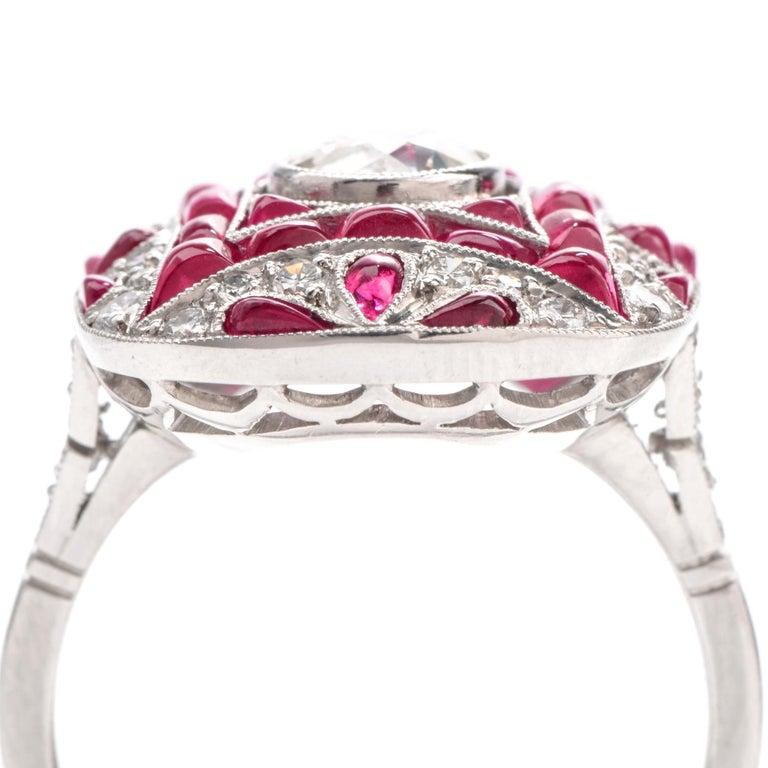 Art Deco Design Diamond Ruby Platinum Cocktail Engagement Ring For Sale 1