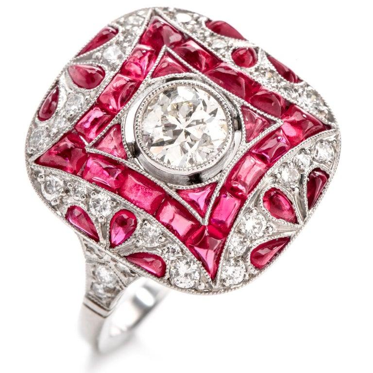 Art Deco Design Diamond Ruby Platinum Cocktail Engagement Ring For Sale 2