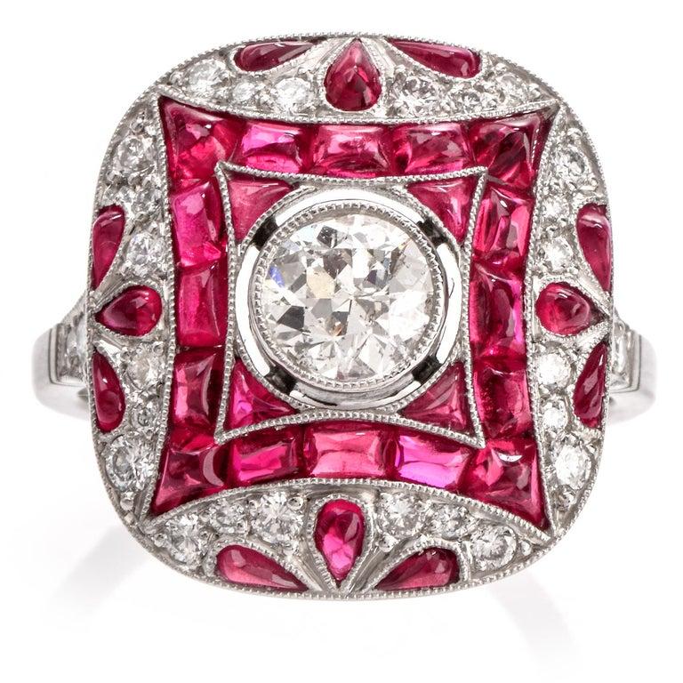 Art Deco Design Diamond Ruby Platinum Cocktail Engagement Ring For Sale 3