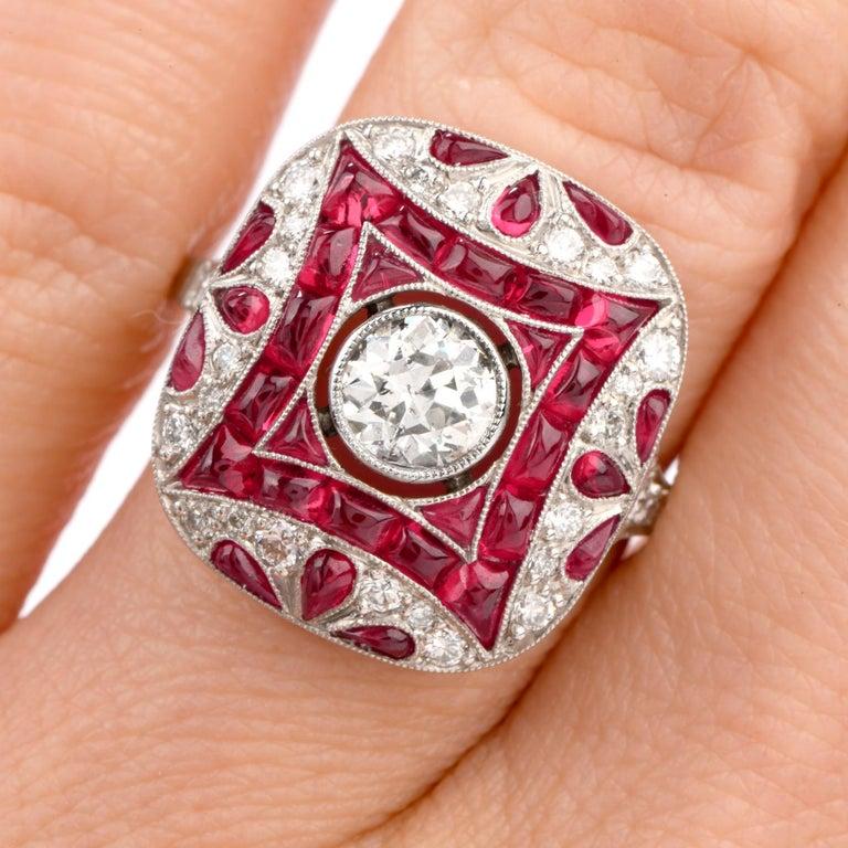 Art Deco Design Diamond Ruby Platinum Cocktail Engagement Ring For Sale 4