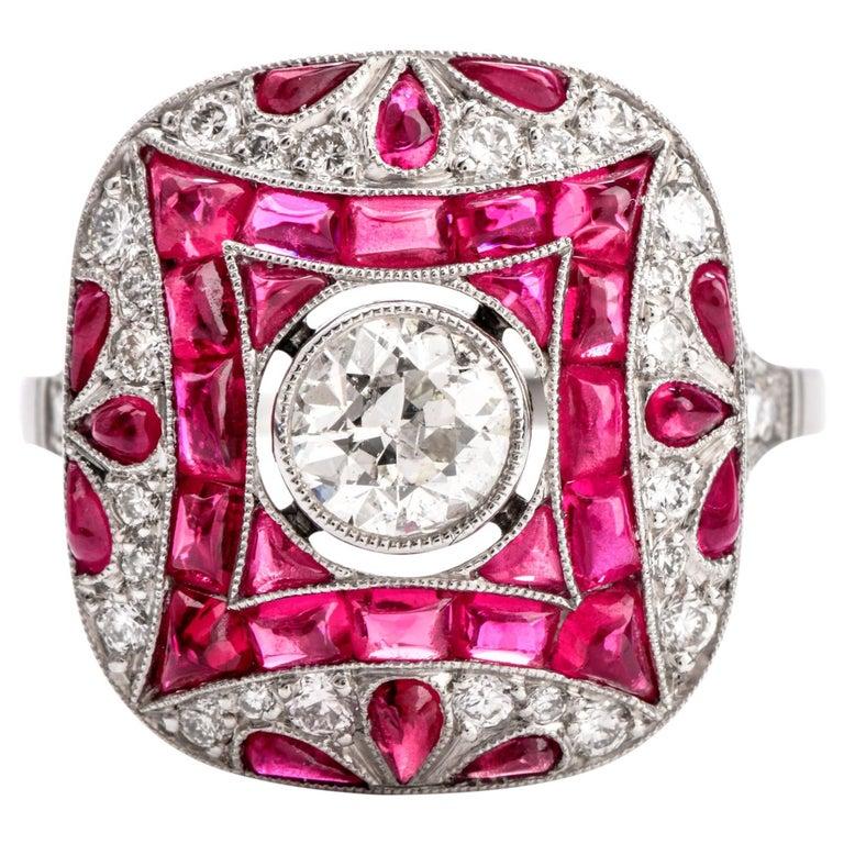 Art Deco Design Diamond Ruby Platinum Cocktail Engagement Ring For Sale