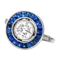 Art Deco Design Diamond Sapphire Halo Platinum Engagement Ring