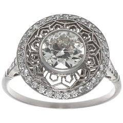 Art Deco Design Filigree 1 Carat Diamond Platinum Ring