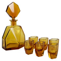 Art Deco Design Glass Liquor Set Amber-Colored, CZ, circa 1925