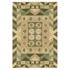 Art Deco Design Green Handmade Wool Carpet
