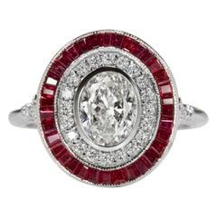 Art Deco Style Handmade 1.75 Carats Oval Diamond Rubies Halo Ring