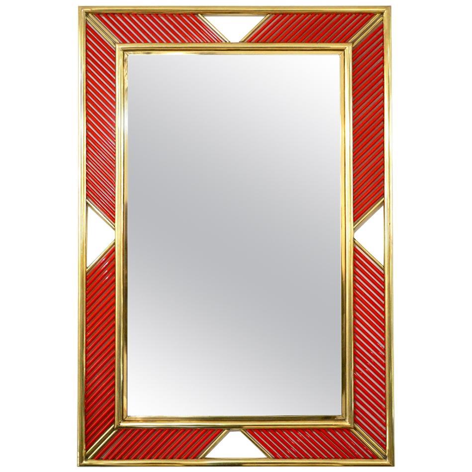 Art Deco Design Italian Red Murano Glass Geometric Modern Fretwork Brass Mirror