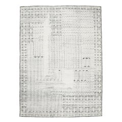 Art Deco Design Ivory/Graphite Textured Wool Ivan Rug