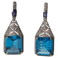 Art Deco Design, London Blue Topaz and Diamond Earrings