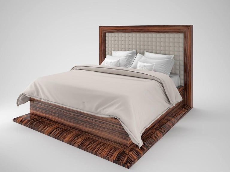 Hand-Crafted Art Deco Design Macassar Bed For Sale