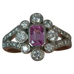 Art Deco Design Pink Sapphire Diamond Platinum Ring