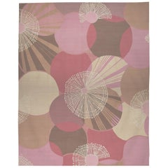 Art Deco Design Poppies Pink Wool Rug by Joanna Michalowicz