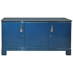 Art Deco Design Sideboard Metallic Blue