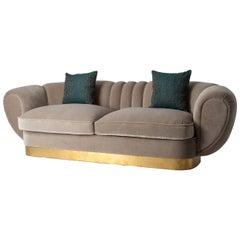 Art Deco Design Style Grey Velvet and Gilt Rounded Sofa