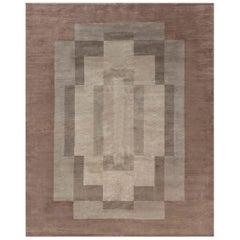 Art Deco Design Tibetan Rug in Beige and Brown