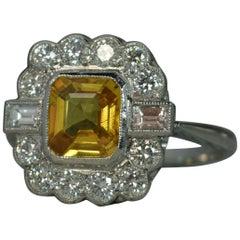 Art Deco Style Design Yellow Sapphire VS Diamond Platinum Cluster Ring