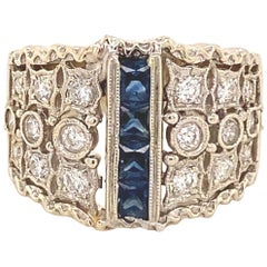 Art Deco Designer Filigree Sapphires Diamonds 18 Karat White Gold Ring