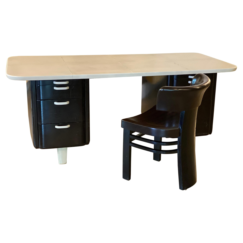 Art Deco Desk and Chair, Parchment Top, Vittorio Valabrega, Italy, 1930's