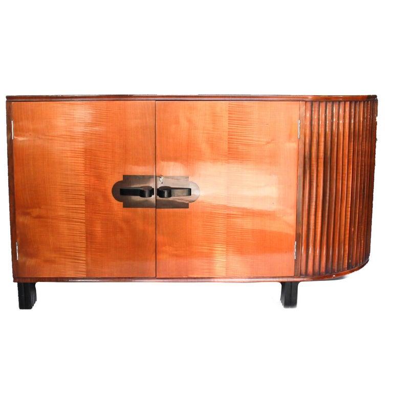 20th Century Art Deco Desk by Maurice Adams Satin Wood and Ebony, circa 1930