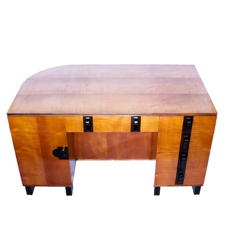 Art Deco Desk by Maurice Adams Satin Wood and Ebony, circa 1930 3