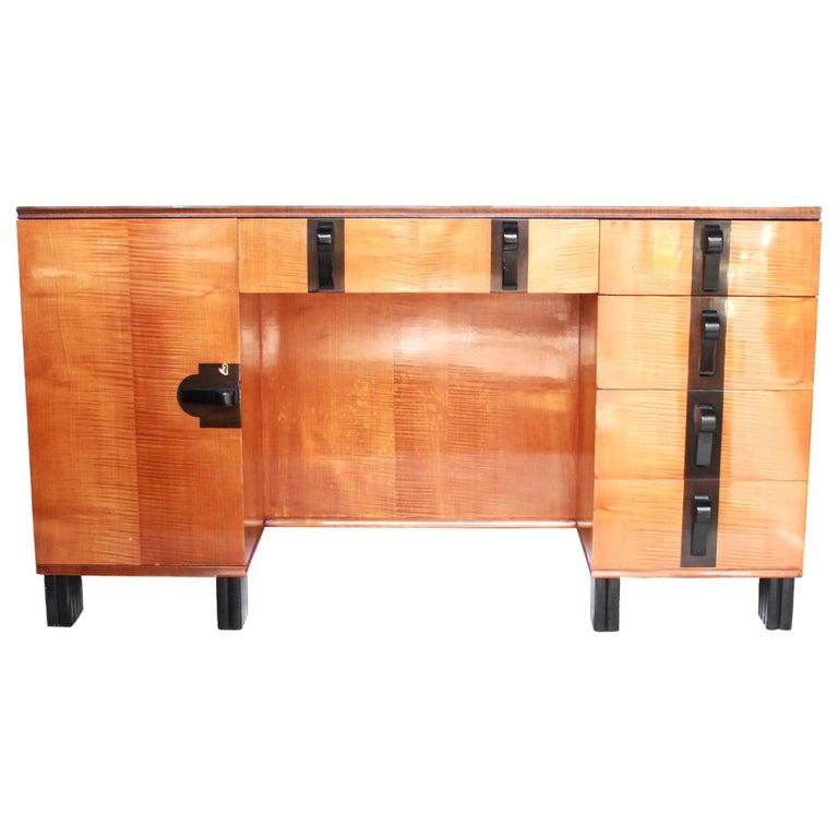 Art Deco Desk by Maurice Adams Satin Wood and Ebony, circa 1930