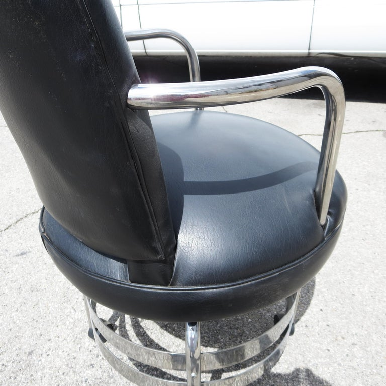 Art Deco Desk Chair in Chrome and Leatherette In Good Condition For Sale In North Hollywood, CA