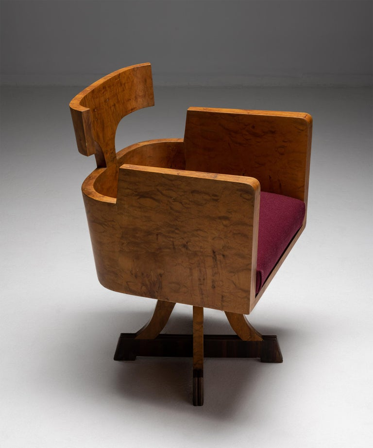 Italian Art Deco Desk Chair, Italy Circa 1930