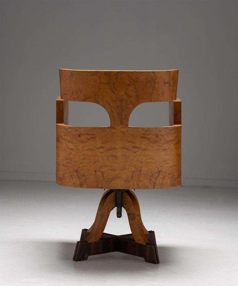 Veneer Art Deco Desk Chair, Italy Circa 1930