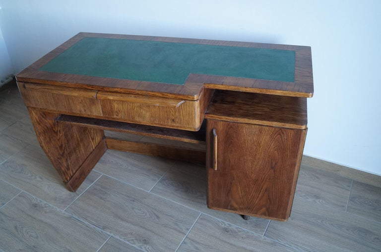 We present double sided desk from 1960.   The desk was given the manual renovation, cleaned to bare wood and finished with varnish as in the original.