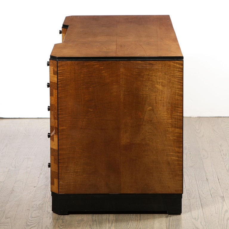 Art Deco Desk in Bookmatched Amboyna and Burled Elm Desk with Cubist Detailing For Sale 5