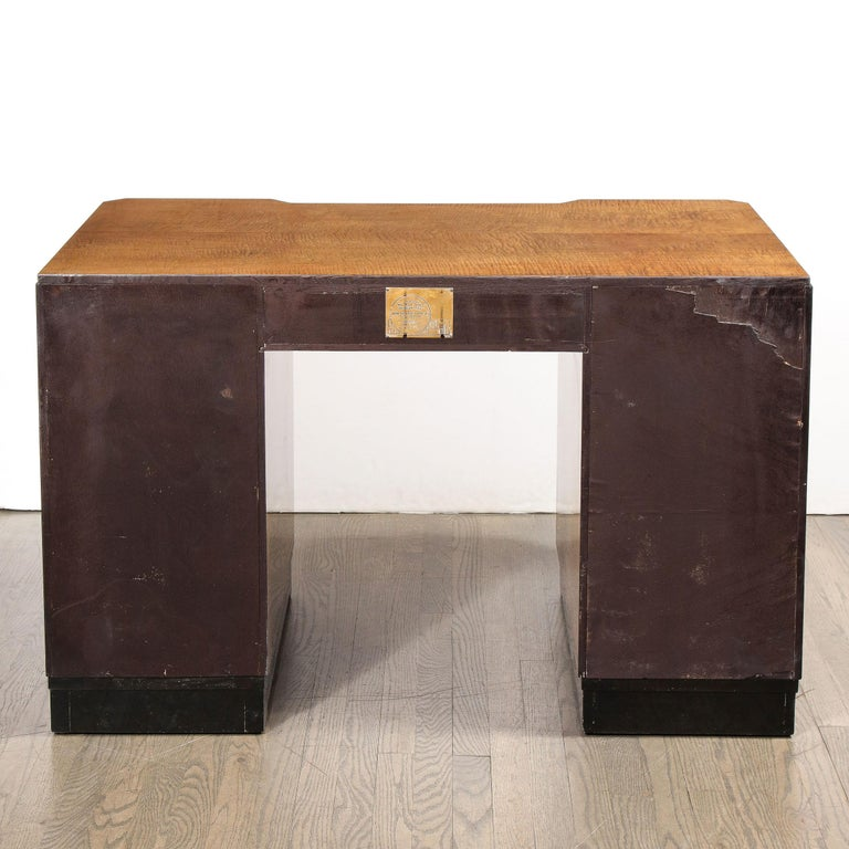 Art Deco Desk in Bookmatched Amboyna and Burled Elm Desk with Cubist Detailing For Sale 7